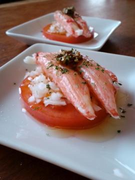 香り箱とトマトのマスタードサラダ