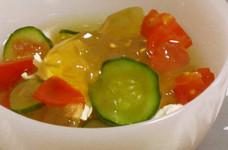 ひんやり冷たい☆夏のスープ寒天
