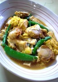 ✿蒸しホタテとスナップエンドウの卵とじ✿