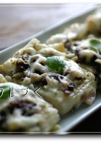 豆餅ピザ〜ジェノベーゼとアンチョビ風味♪