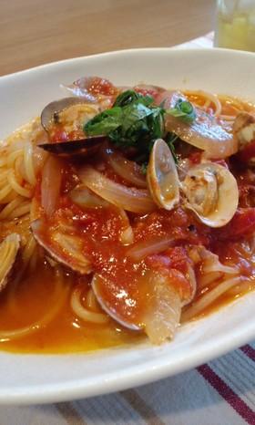 鍋ひとつで☆あさりとトマトのスープスパ