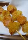 魚肉ソーセージと玉ねぎの串揚げ