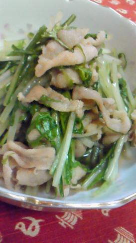 水菜と豚肉の和風さっと炒め♪