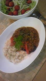 トマトと茄子の挽肉カレーの写真