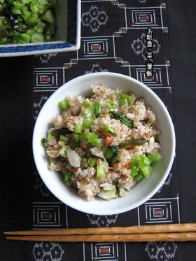 蕪の葉のお新香【蕎麦ご飯で菜っ葉飯】