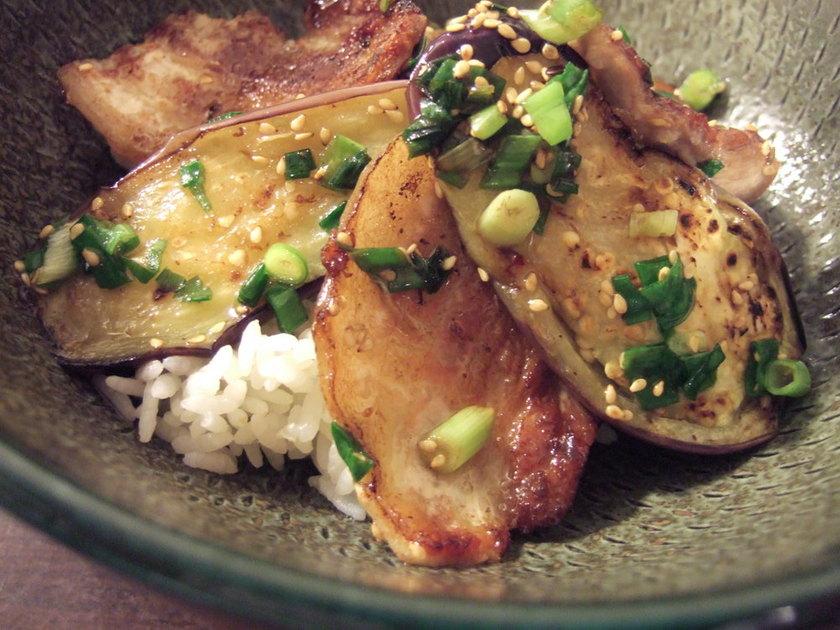 豚バラと茄子の塩ダレ丼