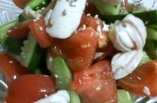 ササミとキュウリとトマトの中華サラダ
