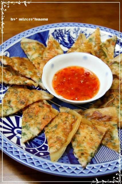 台湾のタイ式料理★春巻きの皮で海老焼き餅