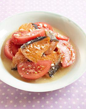 にんにくスゴだれで鮭とトマトの焼きびたし