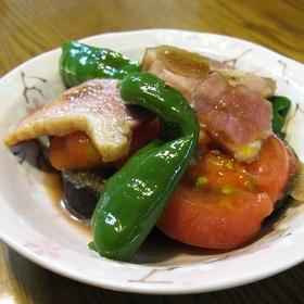 ナス・トマトの煮物✿食べるラー油和え