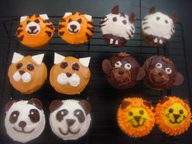 カップケーキ動物デコレーション4 トラ
