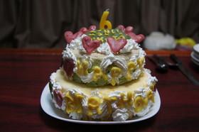 誕生日★2段のカラフルアイスケーキ