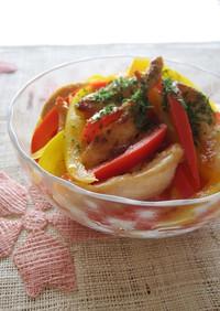 鶏肉とパプリカのわさび醤油サラダ