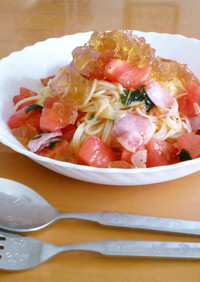 キラキラ★トマトの冷たいパスタ