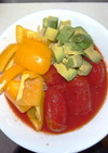 トマト缶で簡単に、冷製スープパスタ
