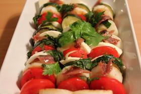トマトと焼き野菜のマリネの♡カプレーゼ