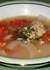 鮭缶でトマトと玉ねぎの冷製スープ