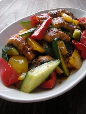 うなぎと夏野菜のピリ辛炒め