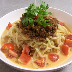 麻婆豆腐の素使用*簡単冷やしトマト坦々麺