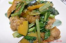 肉カボチャと小松菜のオイスターソース炒め