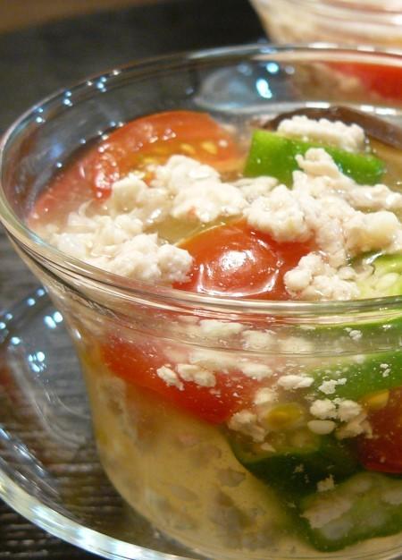 冬瓜の夏野菜入り冷やし餡かけ。