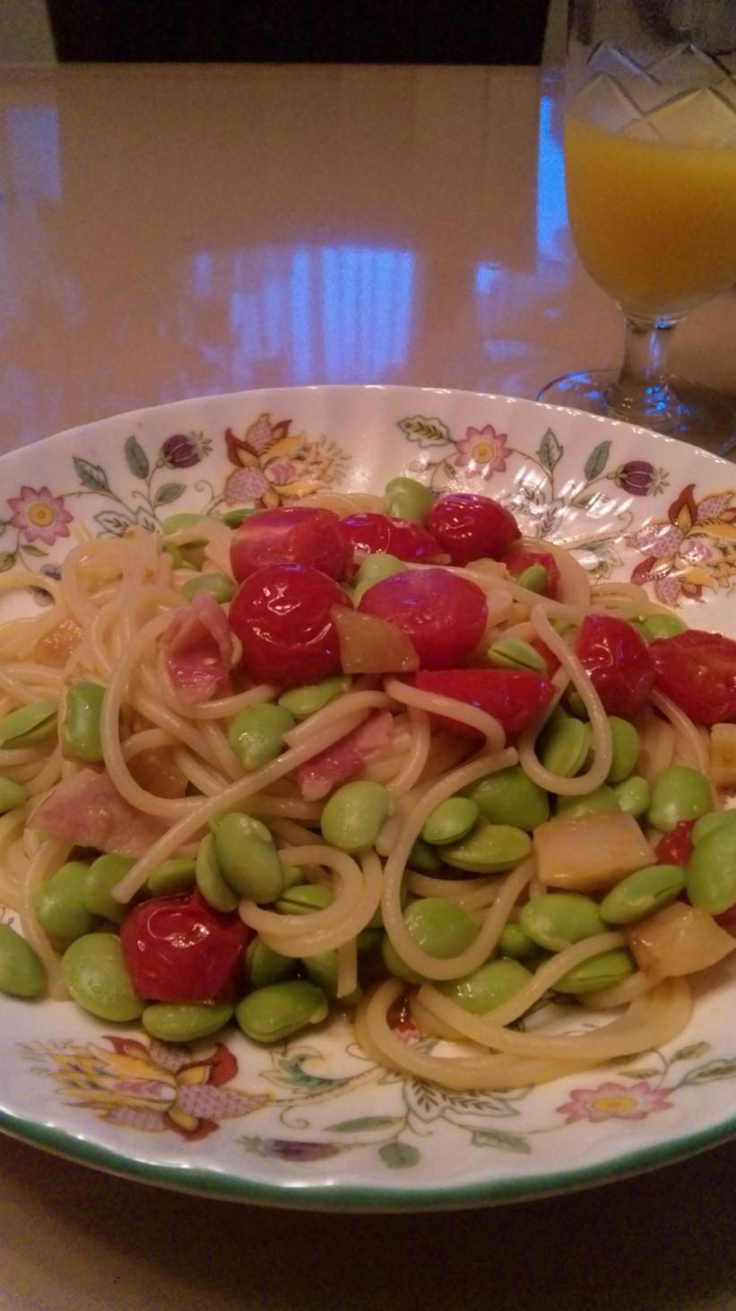 枝豆とミニトマトのペペロンチーノ☆