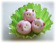 うずらの卵でピンクのぶたさん♪キャラ弁に