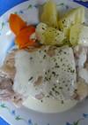 レンジで簡単★蒸し鶏の和風ホワイトソース