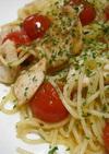 トマトと鶏肉の粒マスタードパスタ