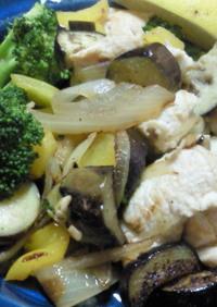鶏肉と野菜の炒めもの青じそさっぱりソース