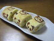 パンダ柄ロールケーキ  練習中の写真