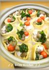 鶏肉と彩り野菜巾着♪白みそ仕立てチーズ鍋