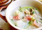 豆苗入り・舞茸と里芋の味噌ミルクスープ