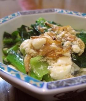 豆腐と小松菜・小エビのオイスターあんかけ