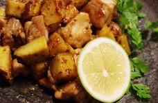 鶏とさつま芋のマスタードポン酢炒め