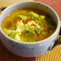 トマトとキャベツのチーズ卵スープ