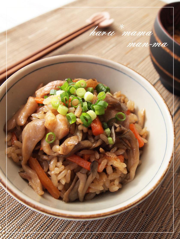 鶏と舞茸のつやピカ。.:*炊き込みご飯✿