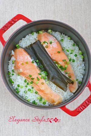 ストウブ料理「鮭のわっぱめし」