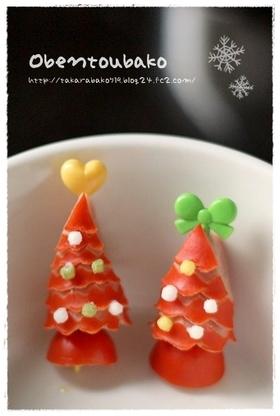 ウインナー1本で♪赤いクリスマスツリー☆