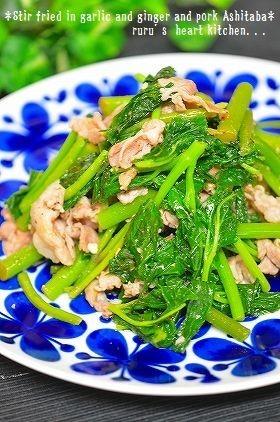 ✿明日葉と豚肉炒め✿