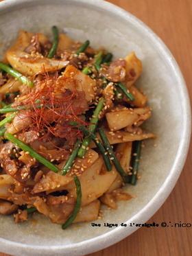 蓮根と豚バラのコチュジャン炒め。