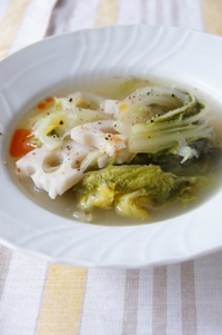 アク抜き不要♪れんこんと白菜のスープ