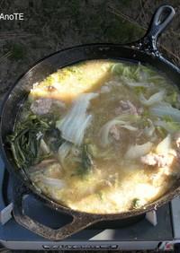 白菜と豚ひきのスープ 屋外ダッチオーブン