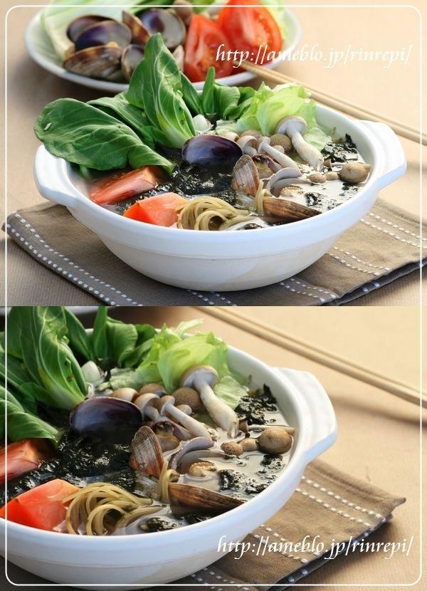 磯の香り 海苔とアサリのパスタ鍋