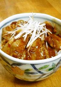 レンジde豚ばら薄切り肉の角煮丼風