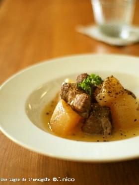 牛すね肉と大根の煮込み・バター風味。