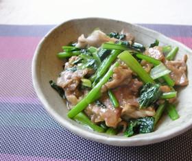小松菜と豚こま肉のピリ辛オイスター炒め