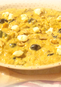 南瓜と胡桃と黒豆のチーズリゾット