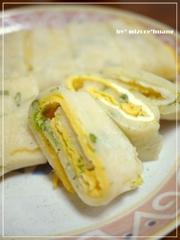 台湾の定番朝食★たまご巻き(蛋餅)の写真