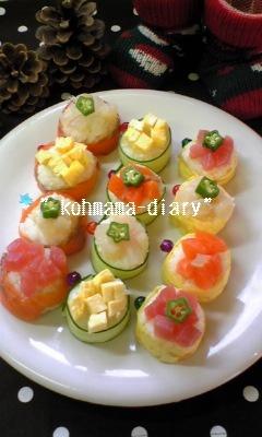 パーティを彩る☆花畑巻き寿司。*。*。*
